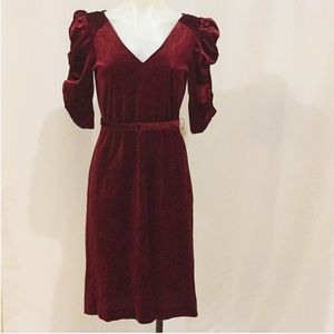 Red velvet dress with rouched puffy sleeves Size S